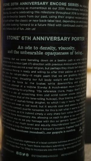 stone 20th anniversary encore series 6th anniversary porter 3